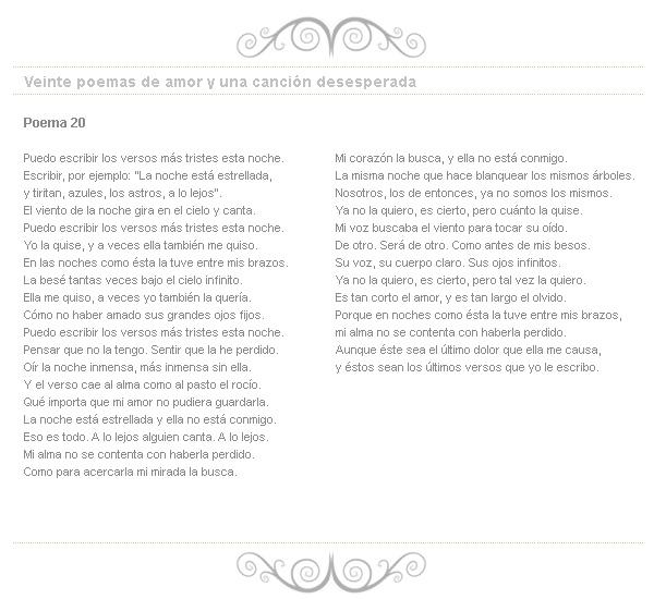 Pablo Neruda poem 20